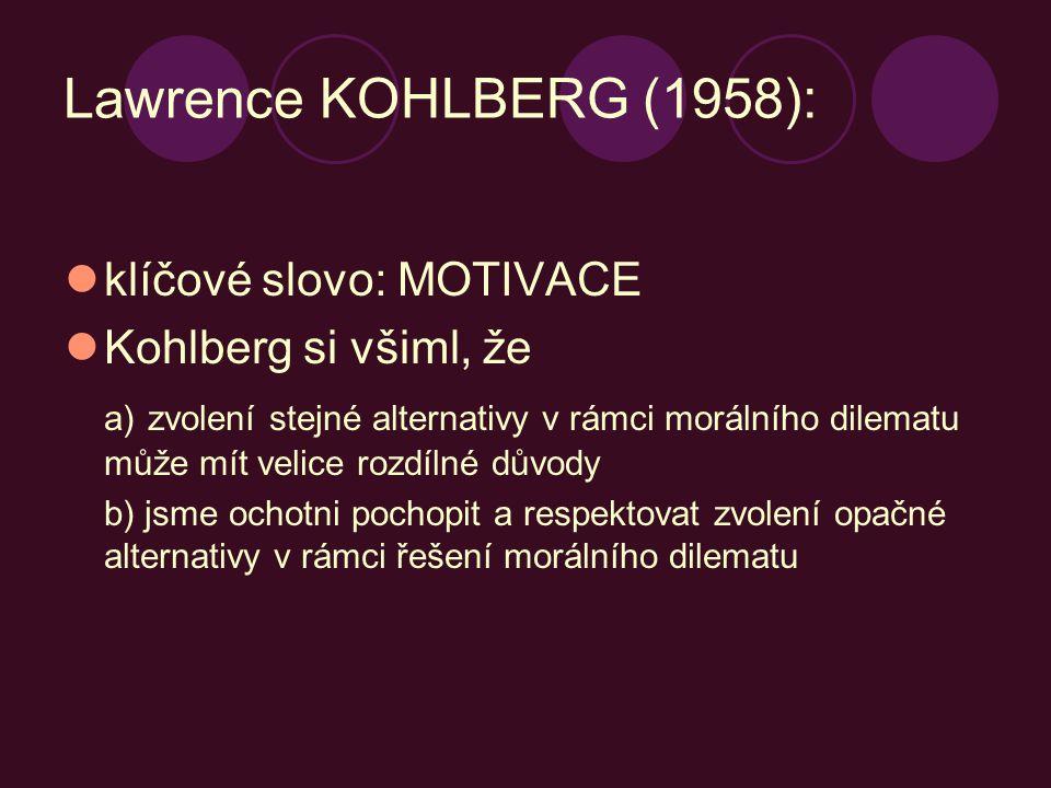 Lawrence KOHLBERG (1958): klíčové slovo: MOTIVACE