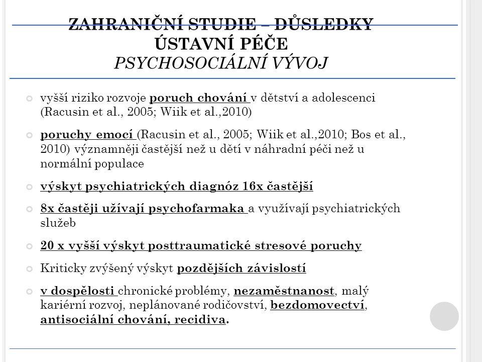 ZAHRANIČNÍ STUDIE – DŮSLEDKY ÚSTAVNÍ PÉČE PSYCHOSOCIÁLNÍ VÝVOJ
