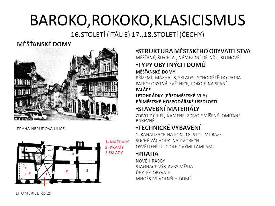 BAROKO,ROKOKO,KLASICISMUS 16.STOLETÍ (ITÁLIE) 17.,18.STOLETÍ (ČECHY)