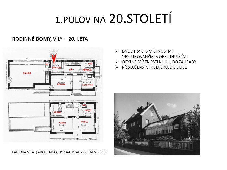 1.POLOVINA 20.STOLETÍ RODINNÉ DOMY, VILY - 20. LÉTA