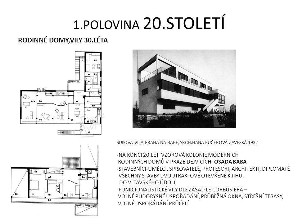 1.POLOVINA 20.STOLETÍ RODINNÉ DOMY,VILY 30.LÉTA