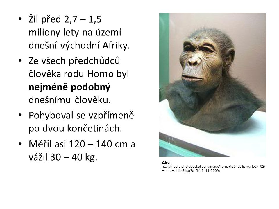 Žil před 2,7 – 1,5 miliony lety na území dnešní východní Afriky.