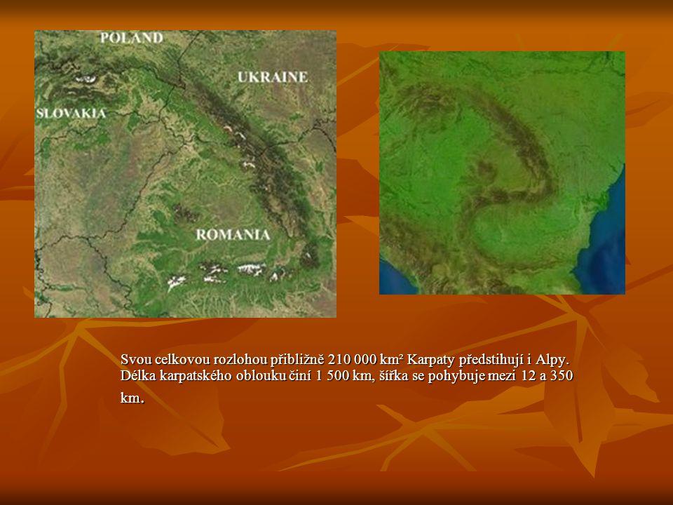 Svou celkovou rozlohou přibližně 210 000 km² Karpaty předstihují i Alpy.