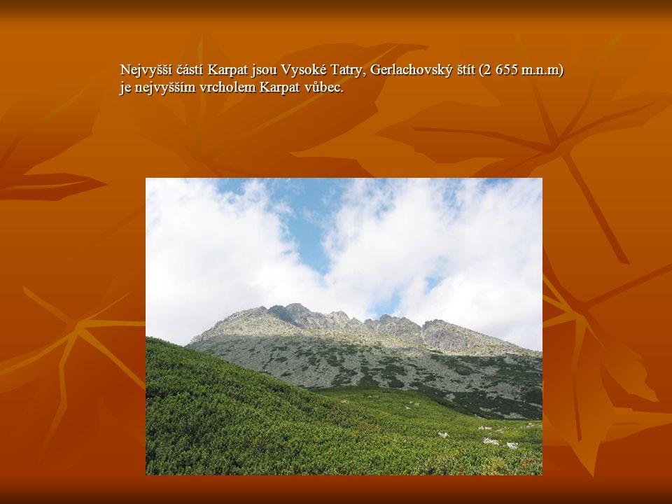 Nejvyšší částí Karpat jsou Vysoké Tatry, Gerlachovský štít (2 655 m. n