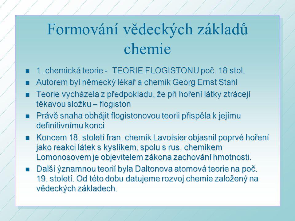 Formování vědeckých základů chemie
