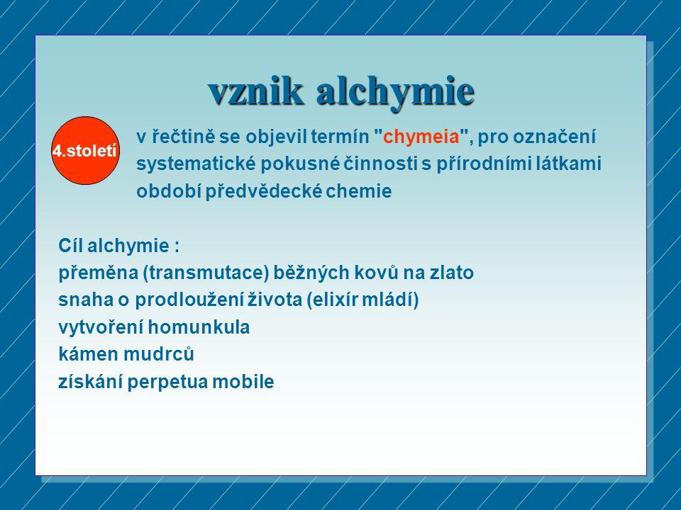 vznik alchymie v řečtině se objevil termín chymeia , pro označení