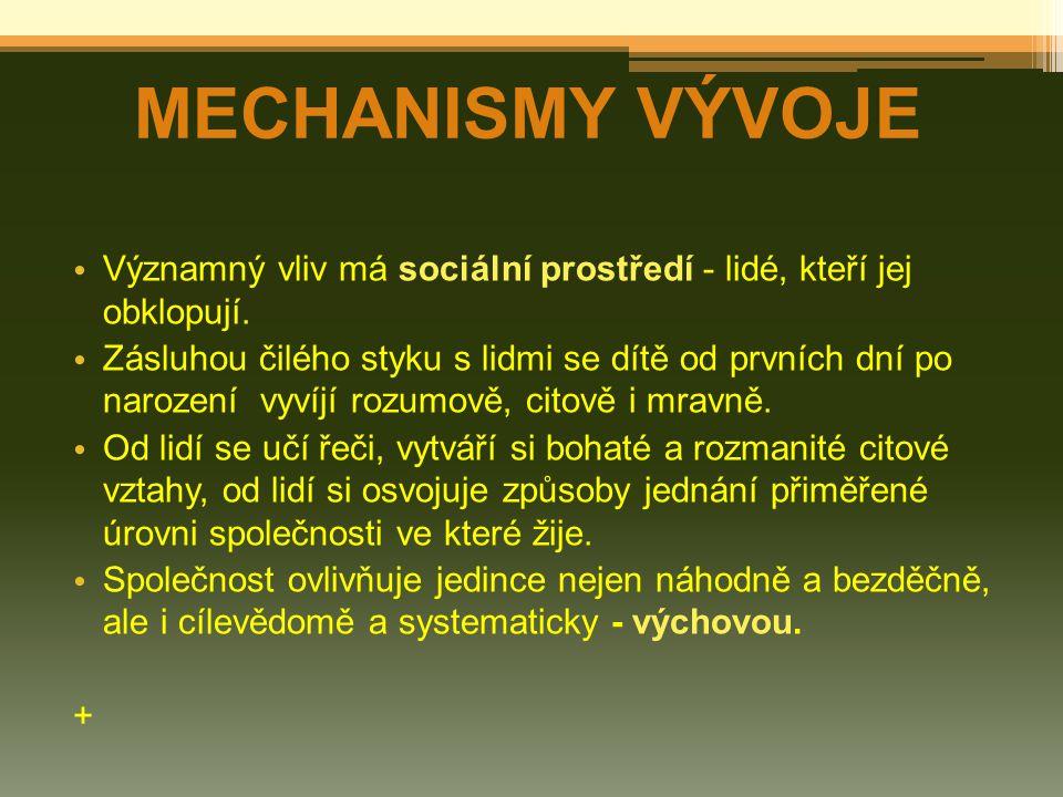 MECHANISMY VÝVOJE Významný vliv má sociální prostředí - lidé, kteří jej obklopují.