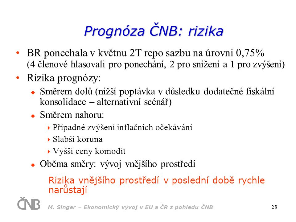 Prognóza ČNB: rizika BR ponechala v květnu 2T repo sazbu na úrovni 0,75% (4 členové hlasovali pro ponechání, 2 pro snížení a 1 pro zvýšení)