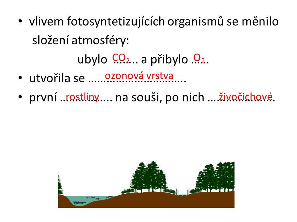 vlivem fotosyntetizujících organismů se měnilo složení atmosféry: