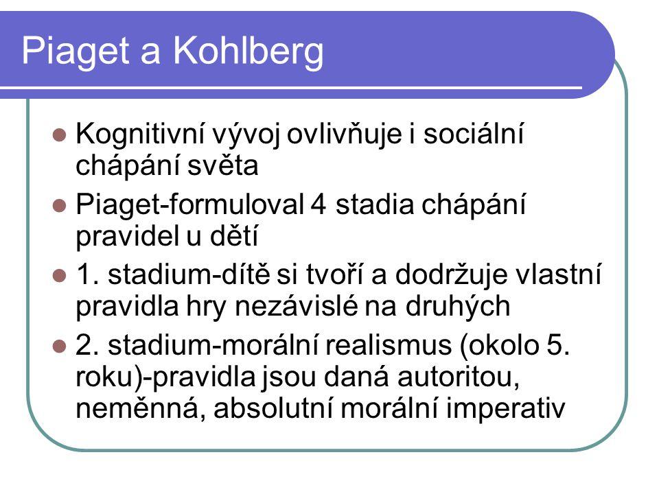 Piaget a Kohlberg Kognitivní vývoj ovlivňuje i sociální chápání světa