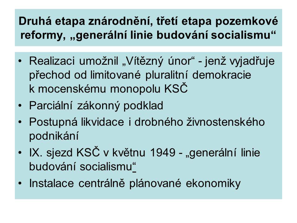 """Druhá etapa znárodnění, třetí etapa pozemkové reformy, """"generální linie budování socialismu"""