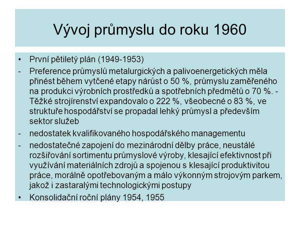 Vývoj průmyslu do roku 1960 První pětiletý plán (1949-1953)