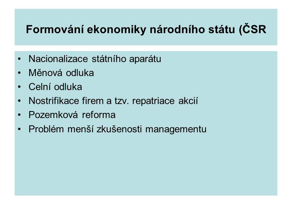 Formování ekonomiky národního státu (ČSR