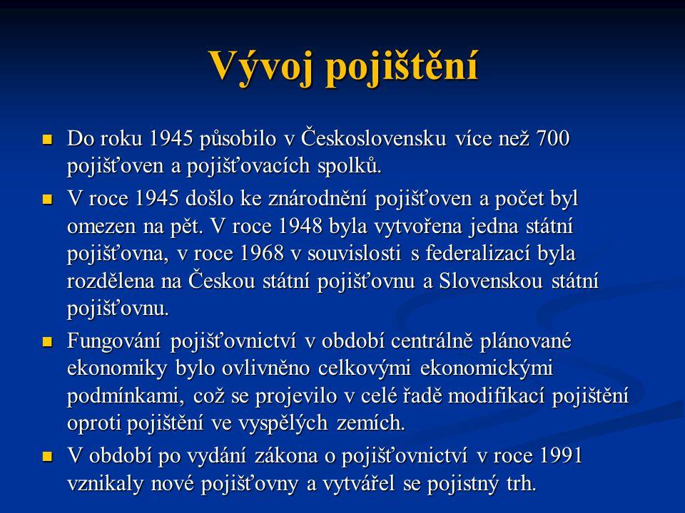 Vývoj pojištění Do roku 1945 působilo v Československu více než 700 pojišťoven a pojišťovacích spolků.