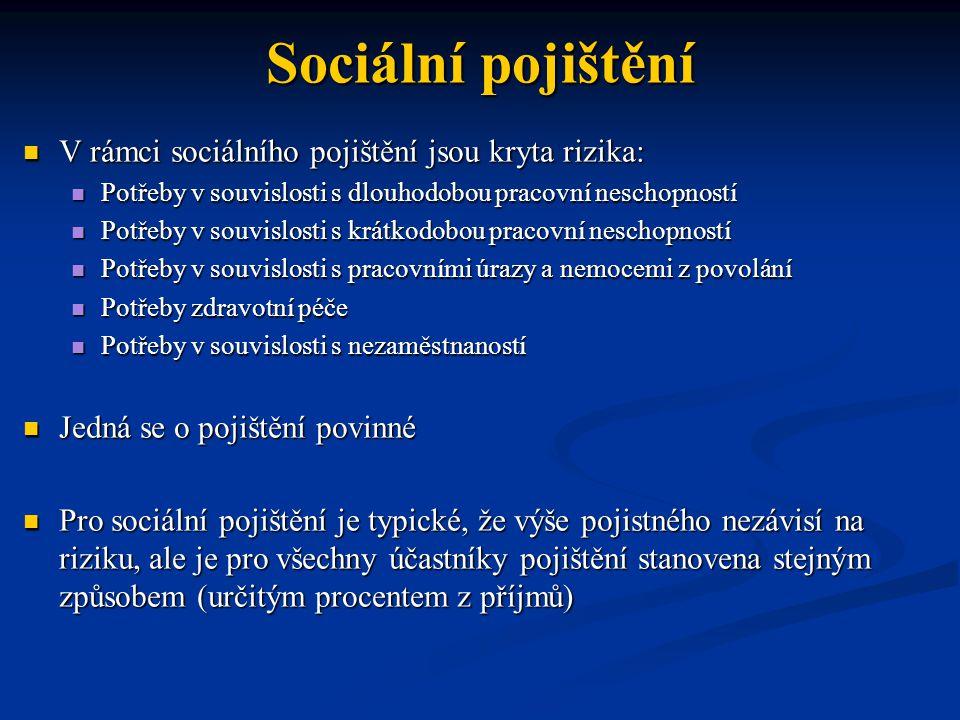 Sociální pojištění V rámci sociálního pojištění jsou kryta rizika: