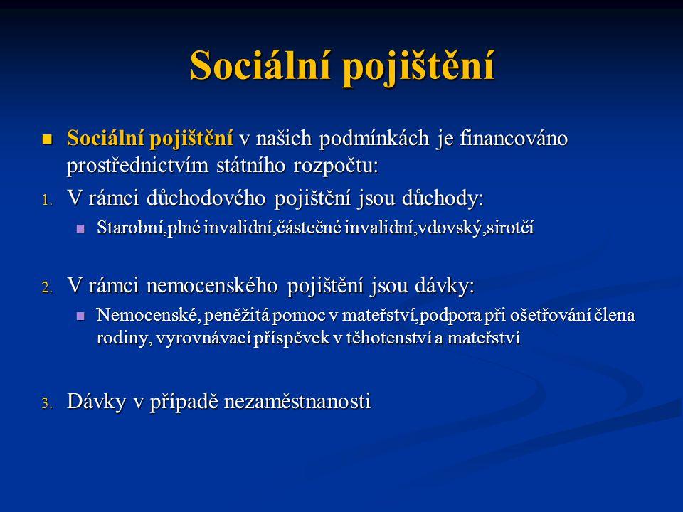 Sociální pojištění Sociální pojištění v našich podmínkách je financováno prostřednictvím státního rozpočtu: