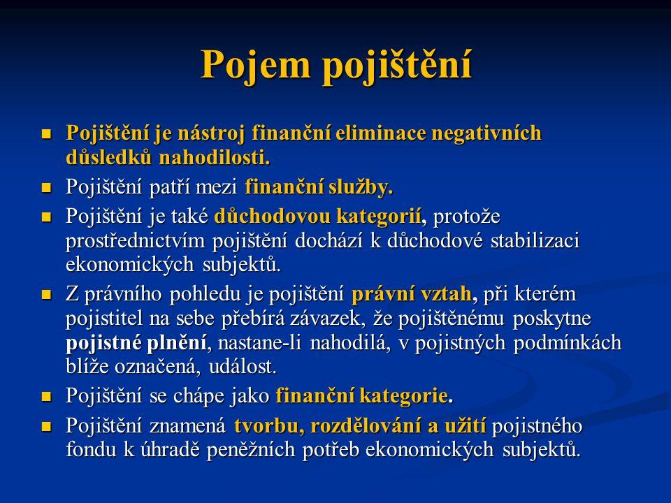 Pojem pojištění Pojištění je nástroj finanční eliminace negativních důsledků nahodilosti. Pojištění patří mezi finanční služby.