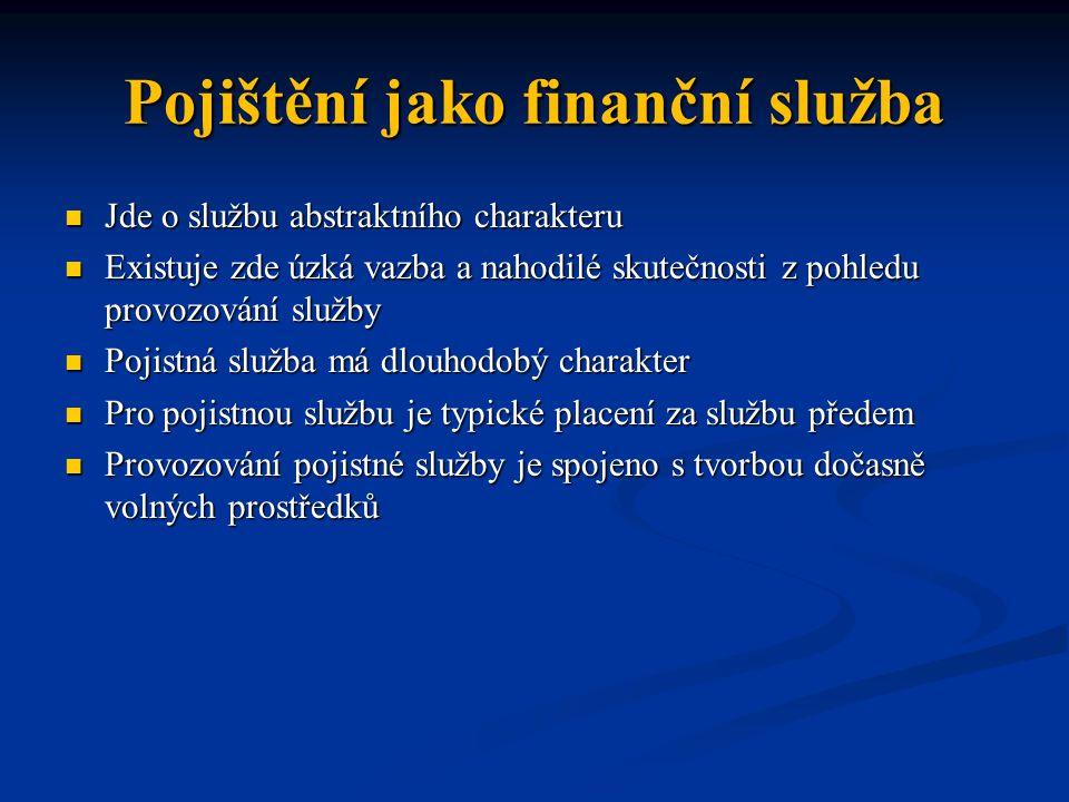 Pojištění jako finanční služba