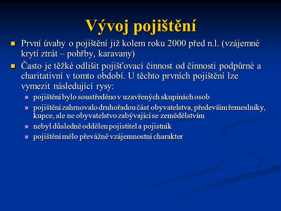Vývoj pojištění První úvahy o pojištění již kolem roku 2000 před n.l. (vzájemné krytí ztrát – pohřby, karavany)