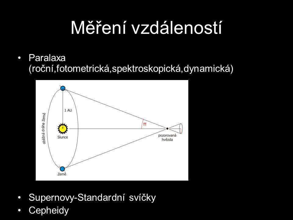 Měření vzdáleností Paralaxa (roční,fotometrická,spektroskopická,dynamická) Supernovy-Standardní svíčky.