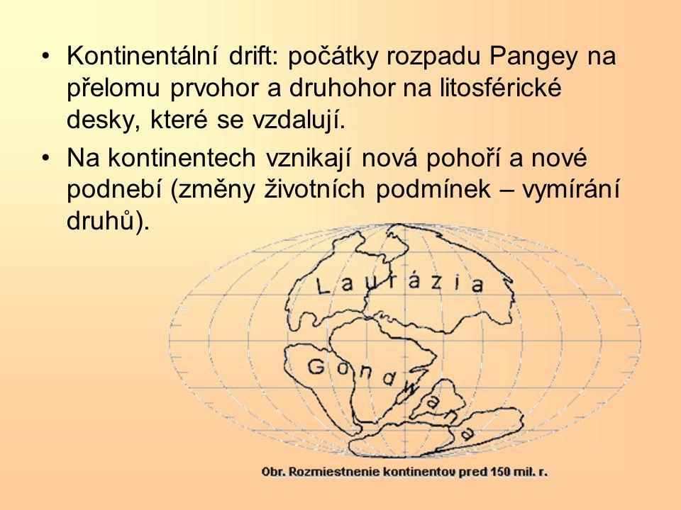 Kontinentální drift: počátky rozpadu Pangey na přelomu prvohor a druhohor na litosférické desky, které se vzdalují.