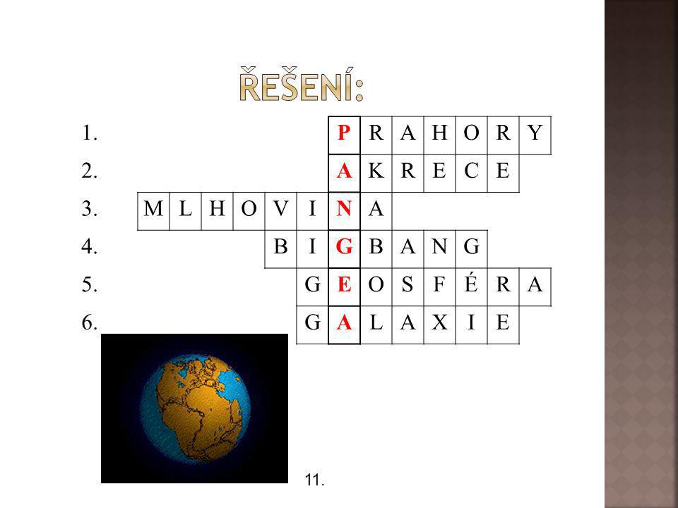Řešení: 1. P R A H O Y 2. K E C 3. M L V I N 4. B G 5. S F É 6. X 11.