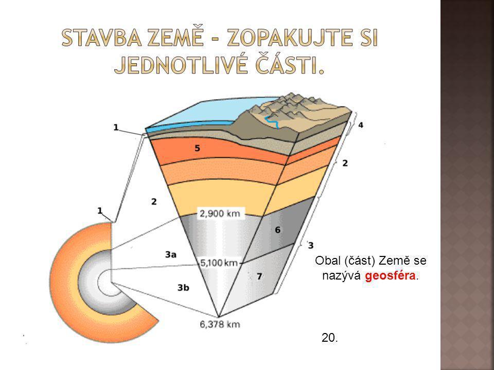 stavba Země - Zopakujte si jednotlivé části.