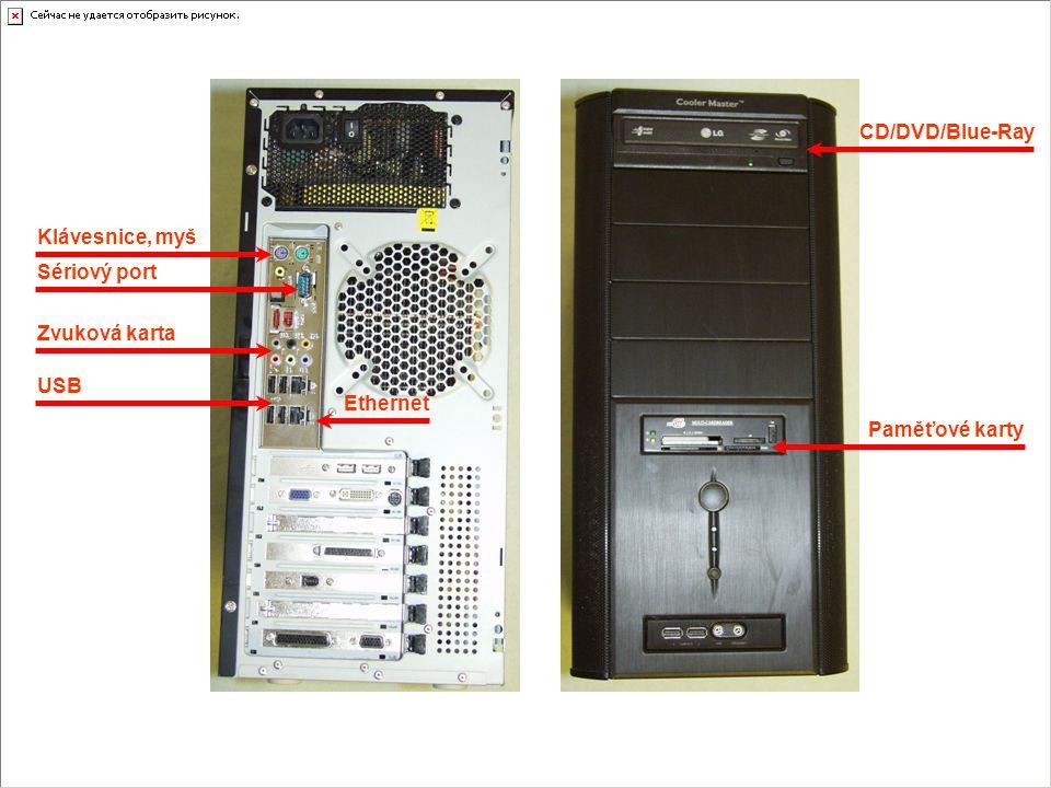 CD/DVD/Blue-Ray Klávesnice, myš Sériový port Zvuková karta USB Ethernet Paměťové karty
