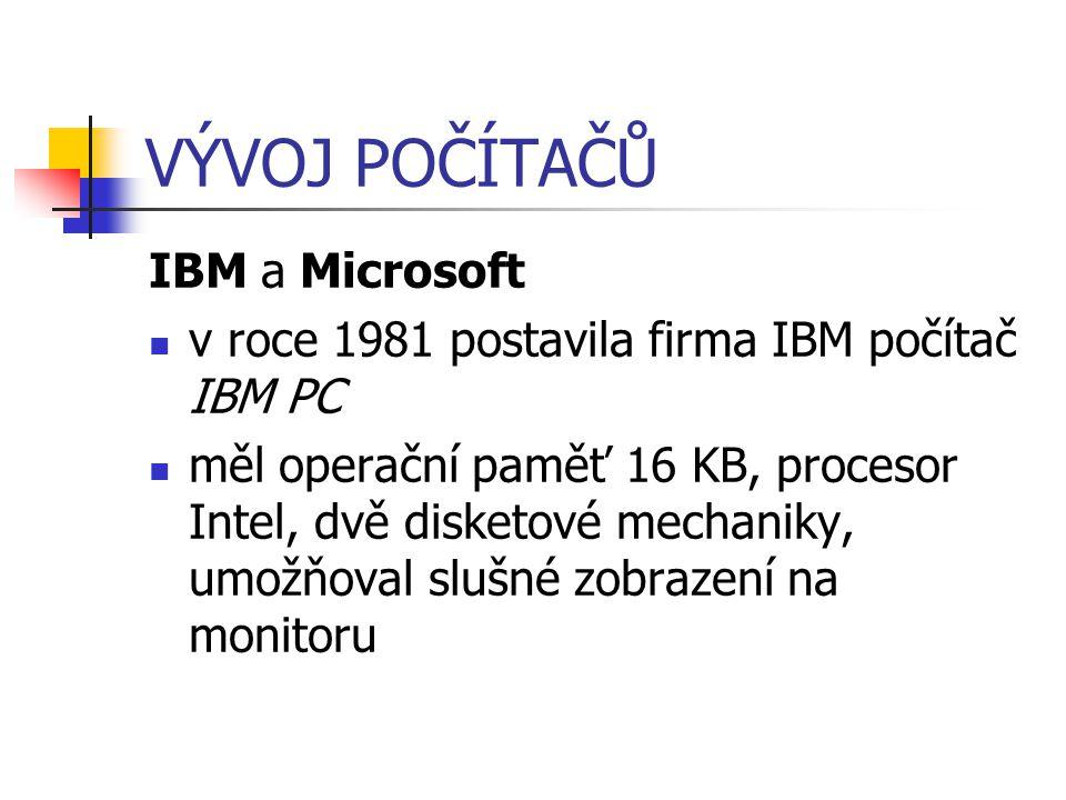 VÝVOJ POČÍTAČŮ IBM a Microsoft