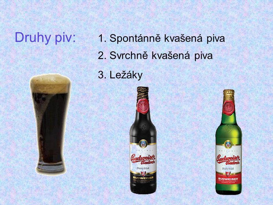 Druhy piv: 1. Spontánně kvašená piva 2. Svrchně kvašená piva 3. Ležáky