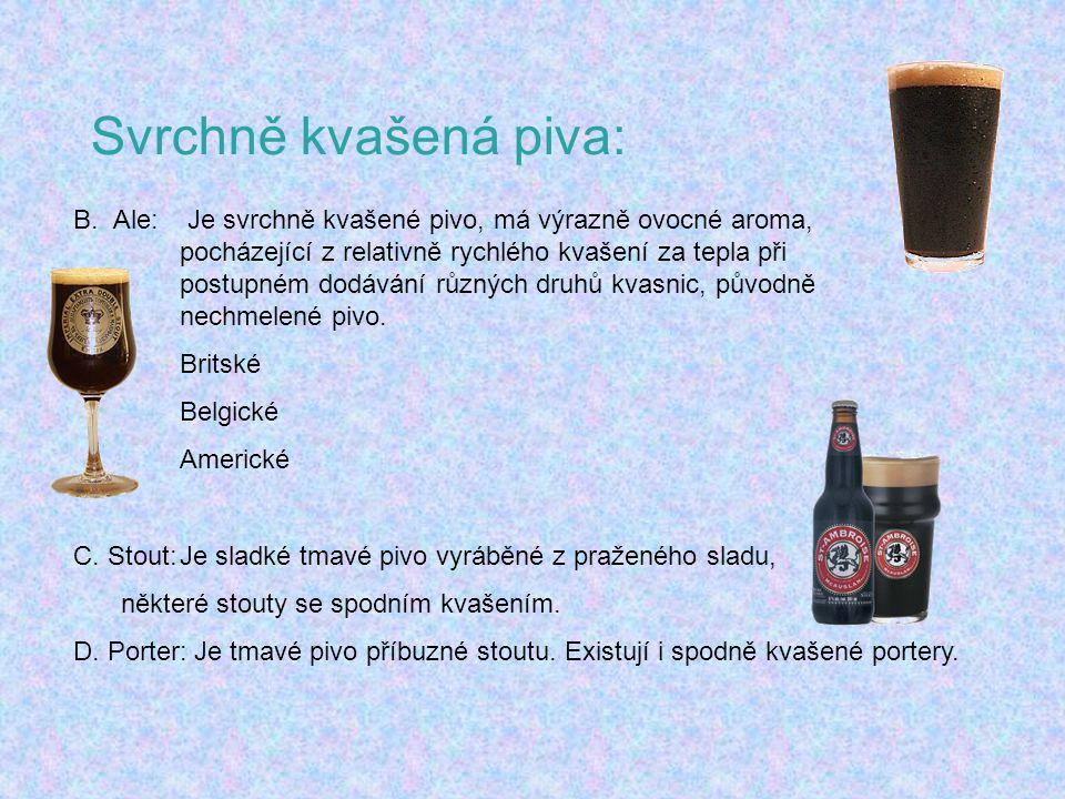 Svrchně kvašená piva: