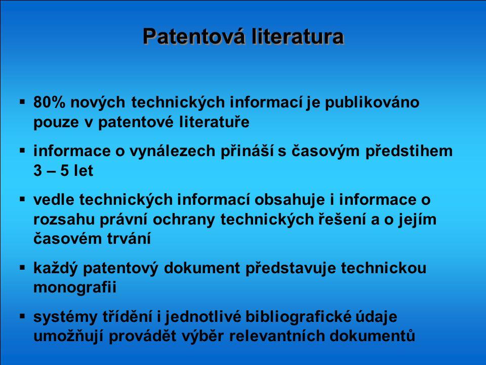Patentová literatura 80% nových technických informací je publikováno pouze v patentové literatuře.
