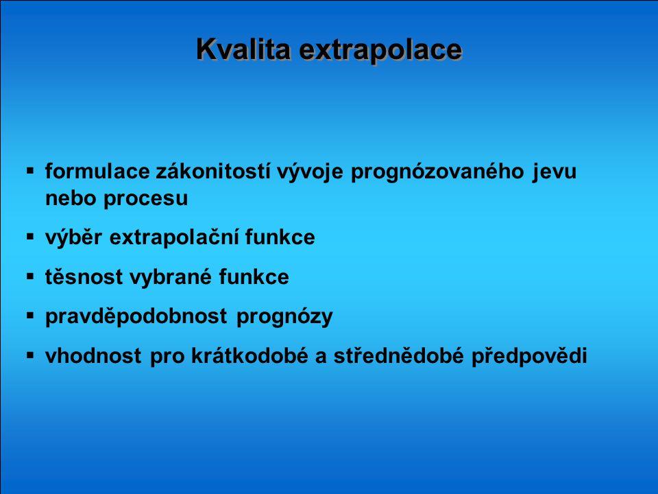 Kvalita extrapolace formulace zákonitostí vývoje prognózovaného jevu nebo procesu. výběr extrapolační funkce.