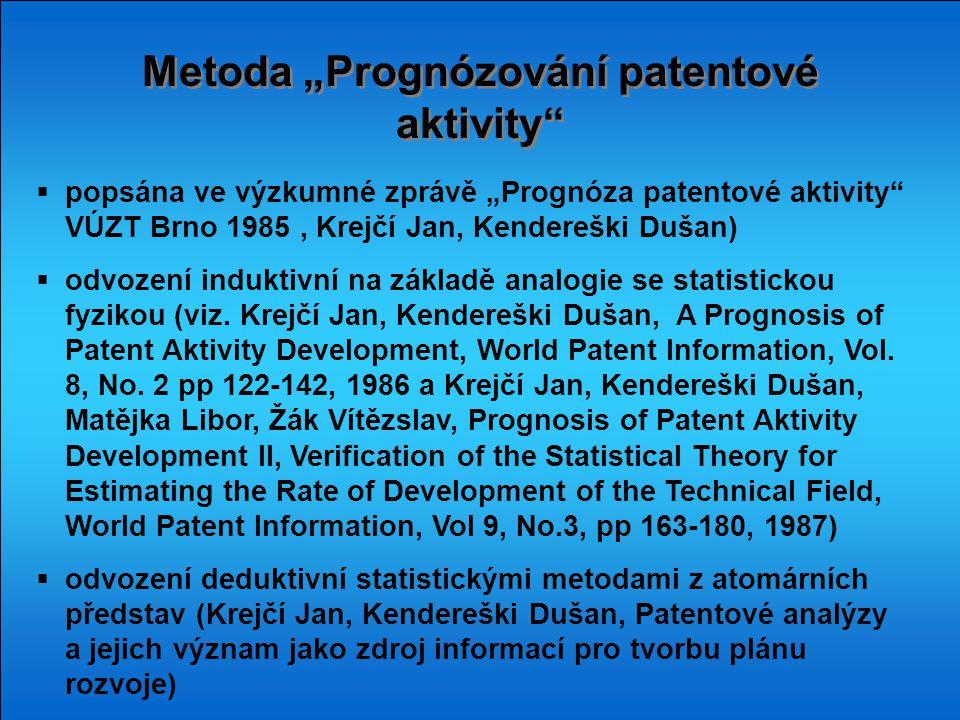 """Metoda """"Prognózování patentové aktivity"""