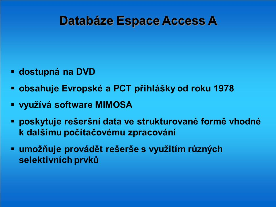 Databáze Espace Access A