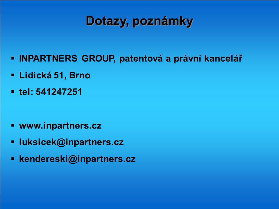 Dotazy, poznámky INPARTNERS GROUP, patentová a právní kancelář