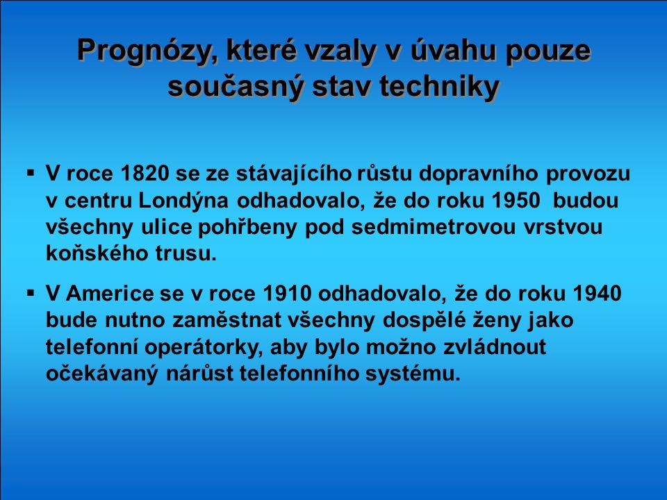 Prognózy, které vzaly v úvahu pouze současný stav techniky