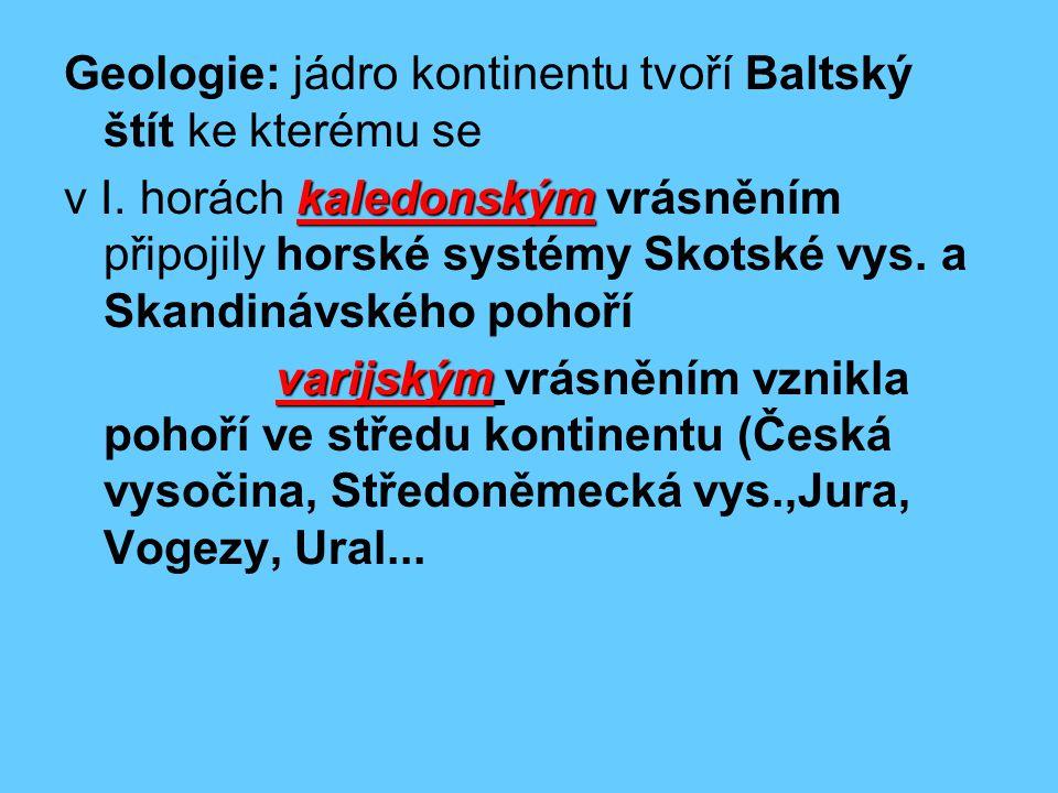 Geologie: jádro kontinentu tvoří Baltský štít ke kterému se