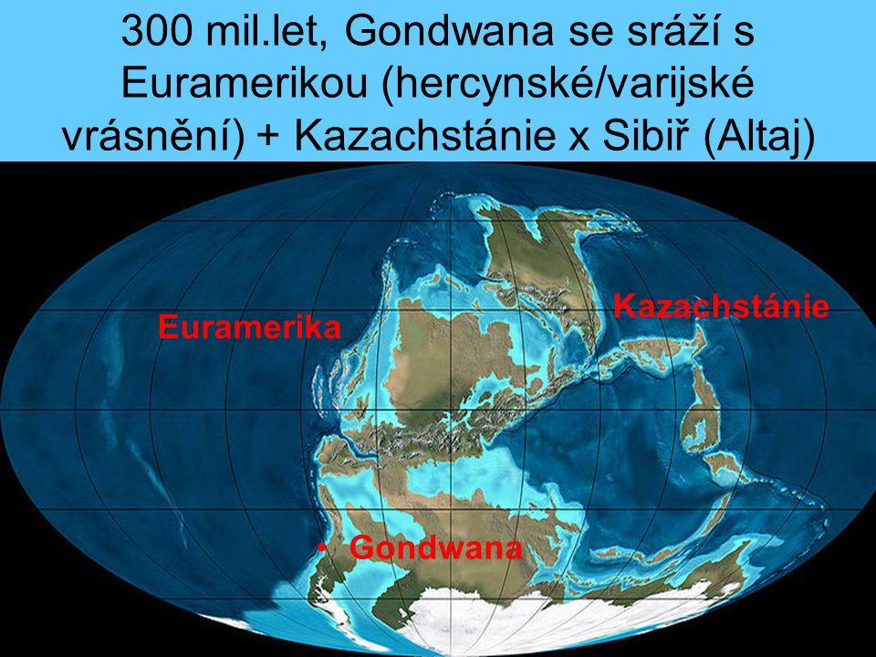 300 mil.let, Gondwana se sráží s Euramerikou (hercynské/varijské vrásnění) + Kazachstánie x Sibiř (Altaj)