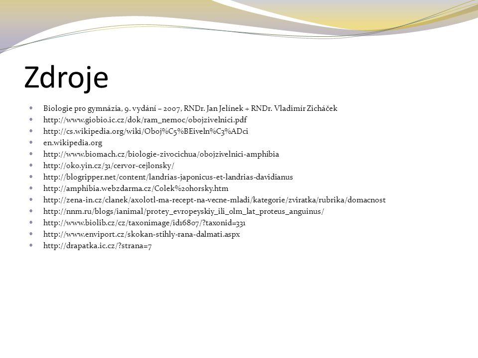 Zdroje Biologie pro gymnázia, 9. vydání – 2007, RNDr. Jan Jelínek + RNDr. Vladimír Zicháček. http://www.giobio.ic.cz/dok/ram_nemoc/obojzivelnici.pdf.