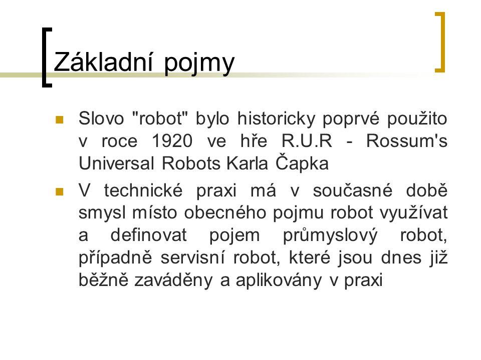 Základní pojmy Slovo robot bylo historicky poprvé použito v roce 1920 ve hře R.U.R - Rossum s Universal Robots Karla Čapka.