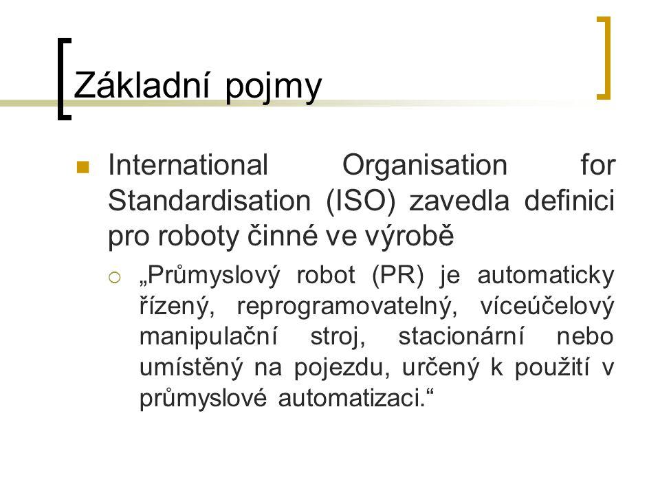 Základní pojmy International Organisation for Standardisation (ISO) zavedla definici pro roboty činné ve výrobě.