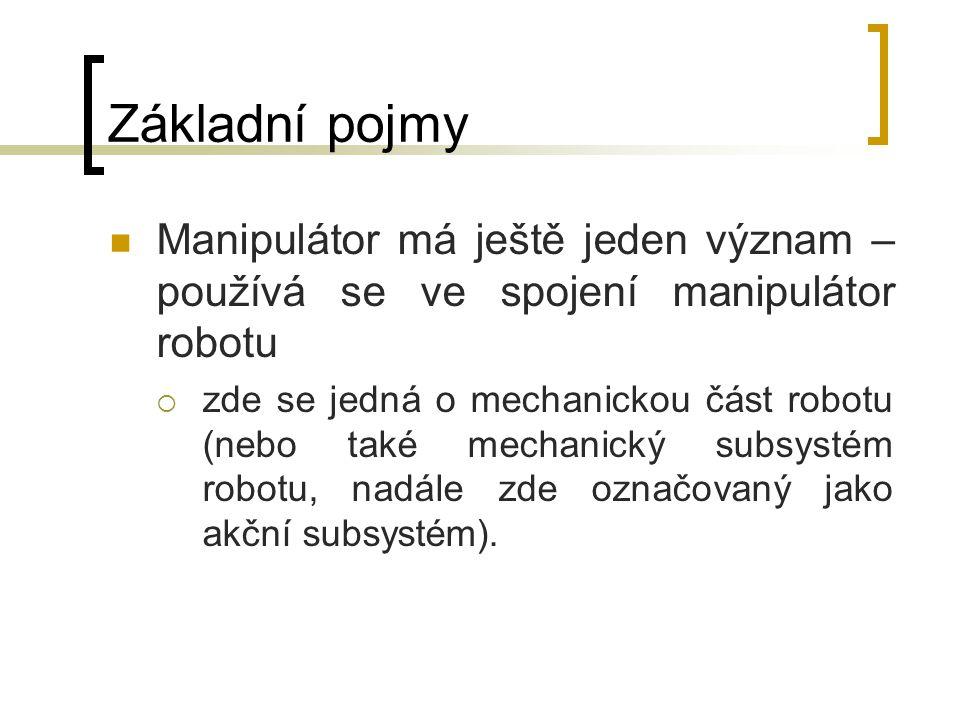 Základní pojmy Manipulátor má ještě jeden význam – používá se ve spojení manipulátor robotu.