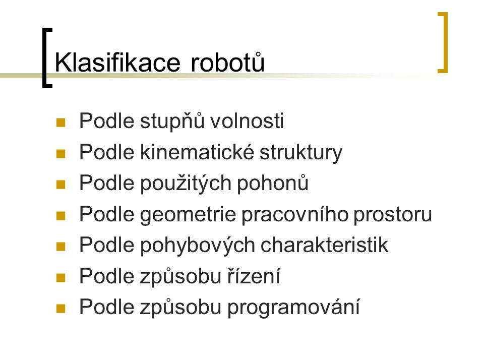 Klasifikace robotů Podle stupňů volnosti Podle kinematické struktury