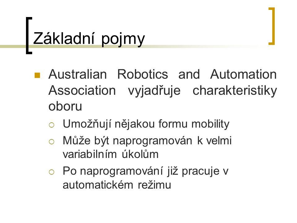 Základní pojmy Australian Robotics and Automation Association vyjadřuje charakteristiky oboru. Umožňují nějakou formu mobility.