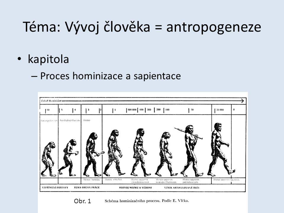 Téma: Vývoj člověka = antropogeneze