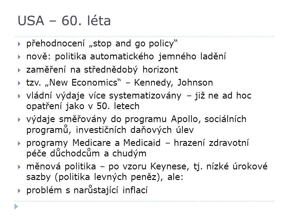"""USA – 60. léta přehodnocení """"stop and go policy"""