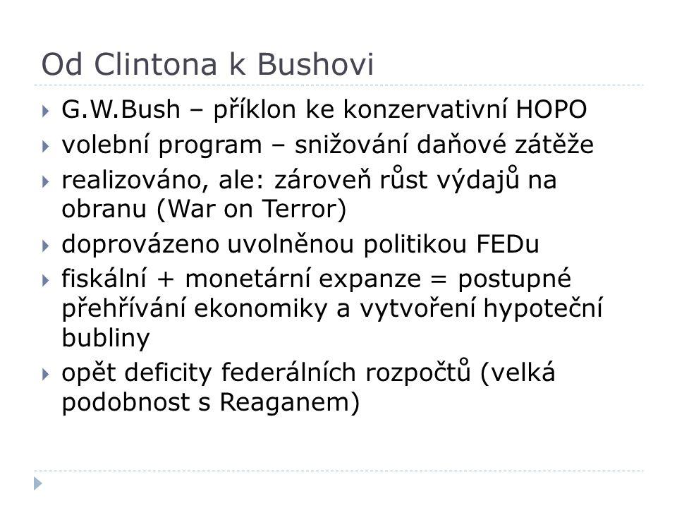 Od Clintona k Bushovi G.W.Bush – příklon ke konzervativní HOPO