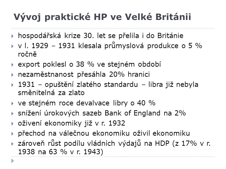 Vývoj praktické HP ve Velké Británii
