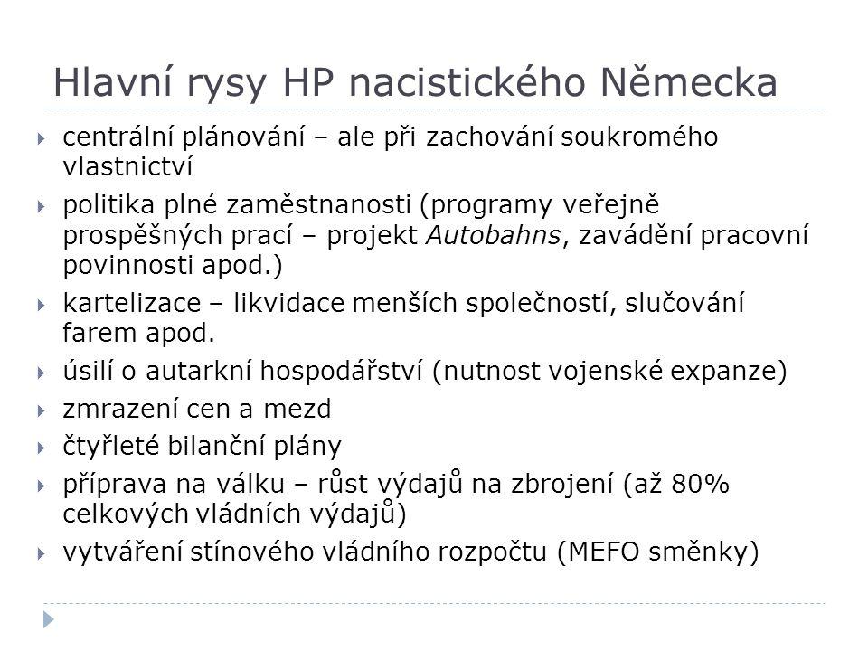 Hlavní rysy HP nacistického Německa